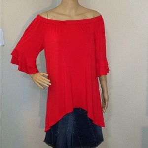 NY Collection Off Shoulder Bell Sleeve Hi-Low Top